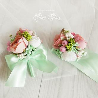 Бутоньерки для свидетелей мятные / Розовые бутоньерки / Цветы для свадьбы / Розовые пионы