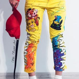 Эксклюзив! Джинсы с  росписью, желтые джинсы. Мода 2020