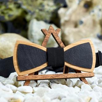 Галстук-бабочка  с черной кожей  на шею под рубашки мужские