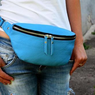 Голубая женская бананка из натуральной кожи, сумка на пояс / плечо