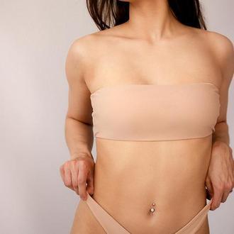Бежевий жіночий купальник - Бандо 2020, бежевий роздільний купальник