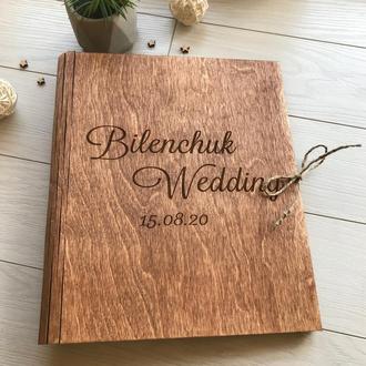 Деревянная свадебная книга с индивидуальной гравировкой