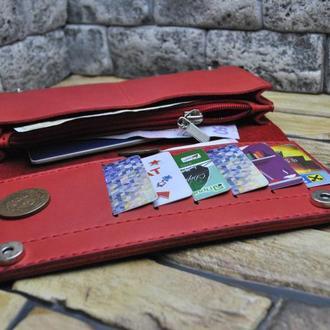 Шикарный  кошелек из натуральной кожи красного цвета K41-580