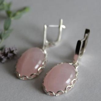 Серебряные серьги Ажур с розовым кварцем