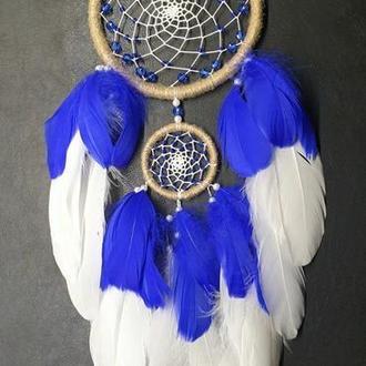 Ловец снов бело-синий, натуральные материалы.
