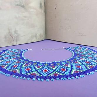 Женское ожерелье силянка синяя этно из чешского бисера