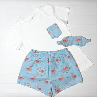 Женская пижама из трикотажной футболки и шортиков с фламинго S, M