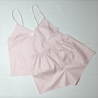 Женская пижама из маечки и шортиков в нежно-розовом цвете S