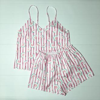 Женская пижама в полоску из премиум сатина Арбузы