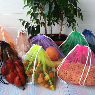 Эко мешочек из сетки ассорти, эко мешочек, екомешок для продуктов, эко мешок из сетки разные цвета