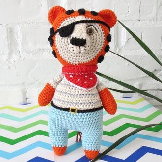 Тигр пират вязаная игрушка для мальчика, подарок ребенку на День рождения или Новый год, эко игрушка