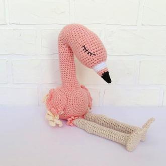Фламинго вязаная игрушка для девочки, розовый фламинго мягкая плюшевая птица подарок ребенку