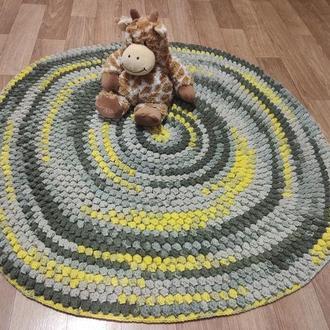 Коврик вязаный с шишечками диаметр 85 см, коврик для медитаций, коврик в детскую