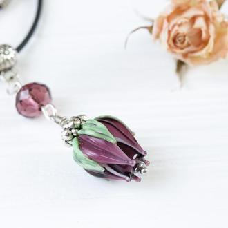 Кулон Цветок бордовый лэмпворк