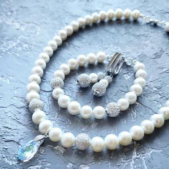 Комплект свадебных или праздничных украшений из крупных натуральных жемчужин колье браслет и серьги