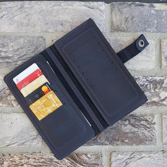 Кожаный кошелек-портмоне 'Brighton' цвет синий.