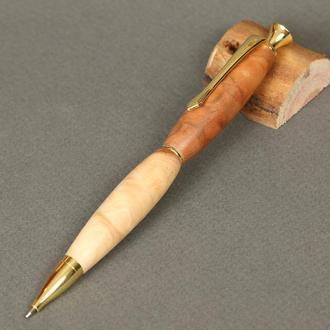 Авторучка деревянная, модель золотая Леди - яблоня
