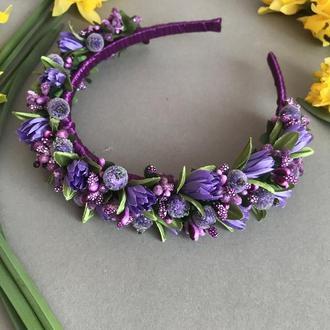 Обруч з фіолетовими квітами