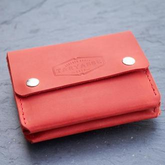 """Кожаный мини кошелёк-картхолдер """"Sheffield"""" цвет красный."""
