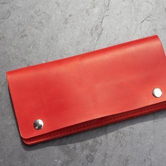 """Кожаный кошелёк лонгер """"Manchester"""" цвет красный."""