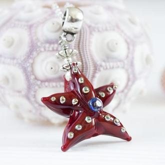 Кулон из стекла Морская звезда лэмпворк