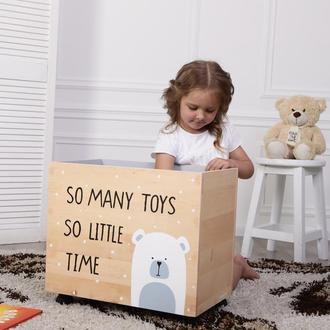 Ящик для игрушек деревянный, WoodAsFun, мишка