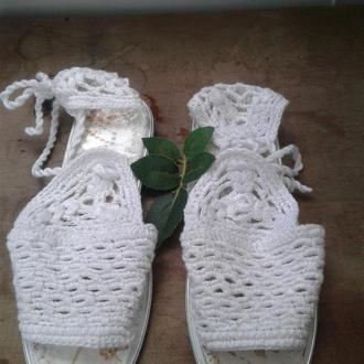 Босоножки женские  Морская пена  Вязание крючком