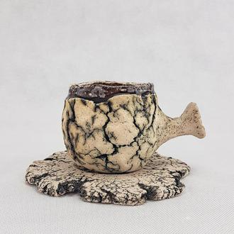 Керамическая чашка с ручкой и блюдце ручной работы, в стиле Рустик, 280 мл., арт.№24