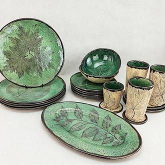 Глянцевая зеленая керамическая посуда, Набор ручной работы,арт.№26