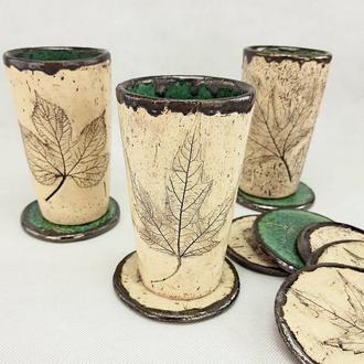 Керамическая чашка в деревенском стиле с блюдцем, ручной работы,  350 мл.,арт.№27