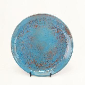 Глянцевая синяя керамическая тарелка ручной работы, 20 см диаметр, арт.№28