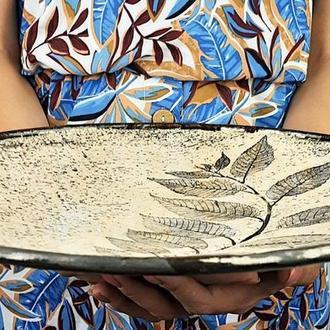 Большое песочное керамическое блюдо ручной работы, 34 см диаметр, арт.№30
