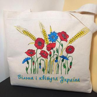 Экосумка с рисунком,Белая сумка из хлопка, Женская сумка