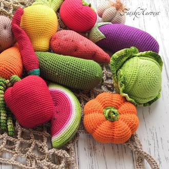 Вязаные овощи и фрукты для игры и развития, подарочная упаковка, персонализация