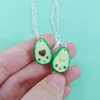 Парные кулоны половинки авокадо для влюбленных или друзей, авокадо с мордочкой и косточкой сердцем