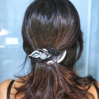 Заколка для волос чёрное перо