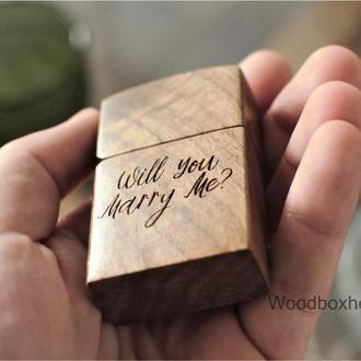Деревянная шкатулка футляр коробочка для помолвочного кольца