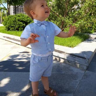 Льняной, летний, нарядный костюм для мальчика, голубой, полоска, 80 р