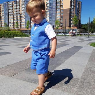 Льняной, летний, нарядный костюм для мальчика, синий, 80 р