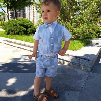 Нарядный костюм для мальчика, голубой, полоска, 80 р