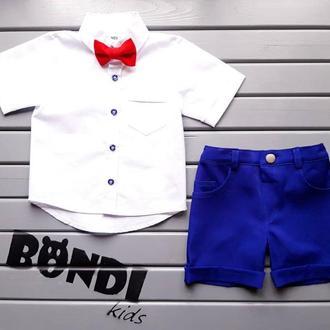 Нарядный костюм для мальчика, электрик, белый, с красной бабочкой