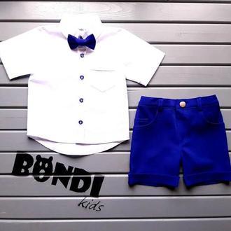 Нарядный костюм для мальчика, электрик, белый, 80 р