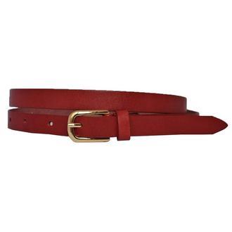 Classic2с15 женский кожаный красный узкий ремень кожанный пояс натуральная кожа