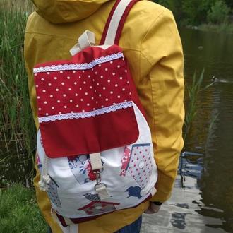 Стильный хлопковый рюкзак с птичками