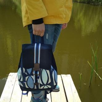 Синий хлопковый рюкзак