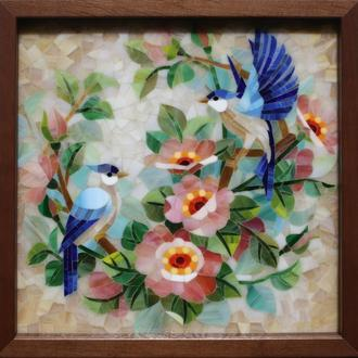 """Картина """"Птицы"""" стеклянная мозаика"""