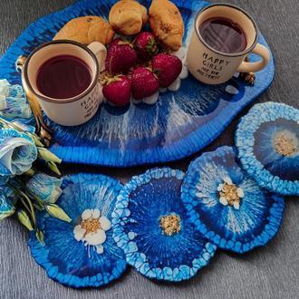 Поднос и 4 подстаканника в сине-белом цвете.Поднос для завтрака, эпоксидная смола.