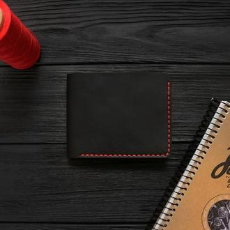 Мужской кожаный бумажник VOILE mw1-blk-red