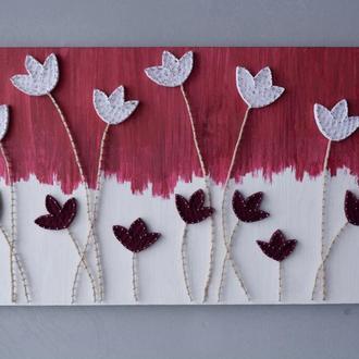 Картина из гвоздей и ниток! Настенный декор! Картина с цветами в подарок! Оригинальный декор