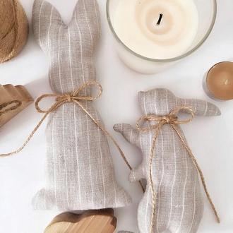 Серый заяц со льна интерьерная игрушка декор тильда зайчик кролик Пасхальный декор эко стиль